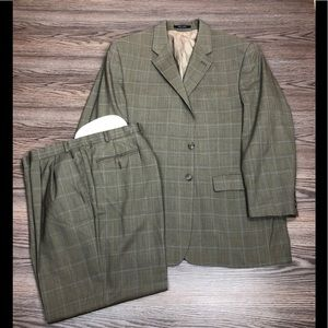 Lauren Ralph Lauren Olive & Blue Plaid Suit 44R